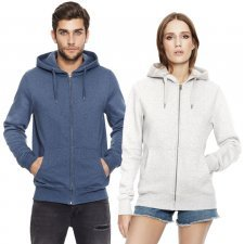 Unisex hoddy zip-up in organic cotton