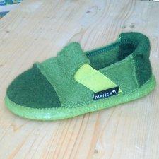 Unisex slippers green in organic wool