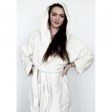 Velour hooded bathrobe in organic cotton