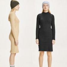 Vestito collo alto a costine CANNA in Cotone biologico