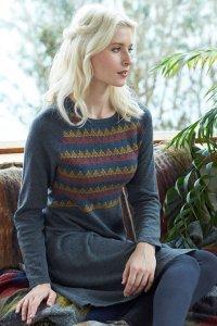 Vestito Jacquard in misto lana e cotone