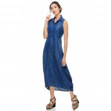 Vestito Long Jeans Washed in 100% viscosa sostenibile lyocell