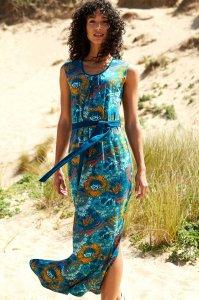Vestito Maxi Turchese da donna in Cotone Biologico Equosolidale