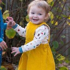 Vestito scamiciato per bambina in velluto di cotone biologico