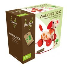 Walking dog in wood Joueco