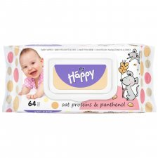 Wet wipes Happy Bella Baby Oat proteins and Panthenol - 64 pcs