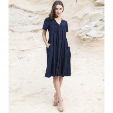 Short sleeve APOLLO dress in Linen, cotton and natural viscose