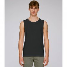 Wide shoulder men tank top in organic cotton
