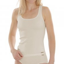 Wide shoulder woman top in 100% cotton bio-fair Natural not dyed