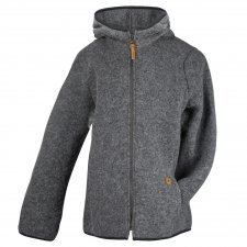 Woman hooded jacket in boiled wool