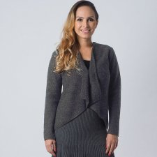 Woman jacket Grey in boiled merino wool