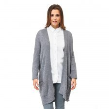 Woman long cardigan in organic merino wool