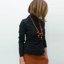 Shirt woman long sleeve Waves in fair trade organic cotton