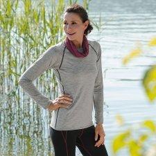 Shirt long sleeve woman Sport in organic virgin wool and silk