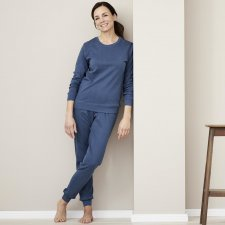 Women's pajamas in Baltic blue organic cotton