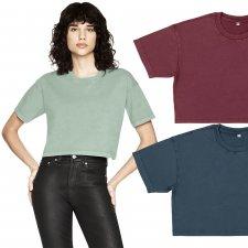 Women's short-sleeved short shirt in organic cotton - Black