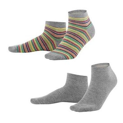 Calze Sneaker Righe + Grigio in cotone bio, 2 paia