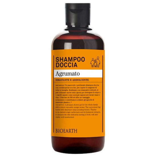 shampoo and shower gel with citrus fruits