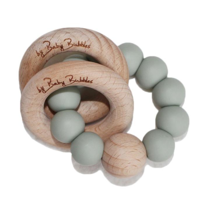 Sonaglio massaggiagengive in silicone e legno Simple Sage