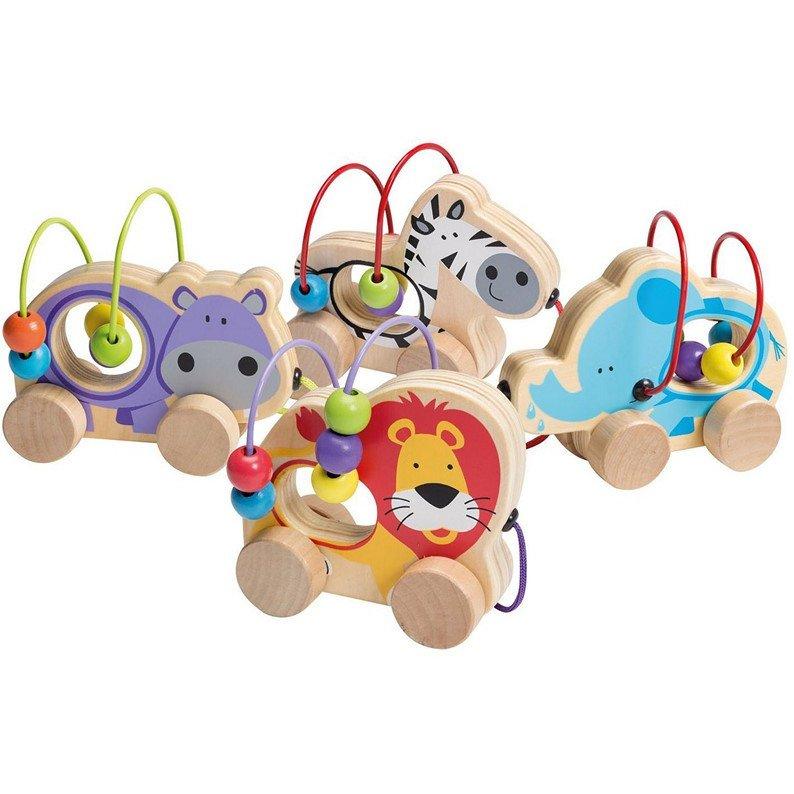 Animali su ruote con circuito di palline in legno