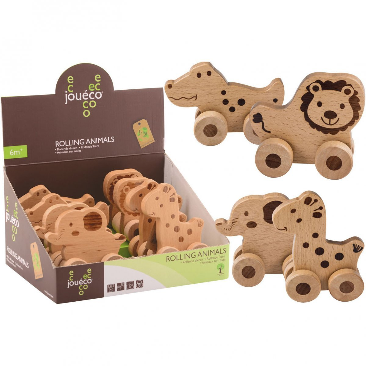 Animali su ruote in legno