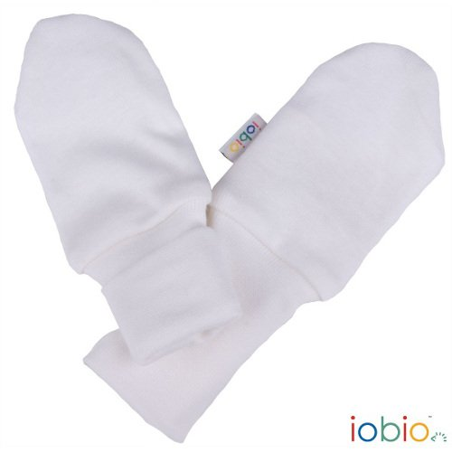 Anti scratch mitts white in organic cotton