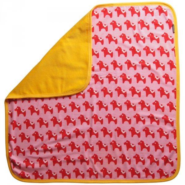 Blanket Dala horses in organic cotton