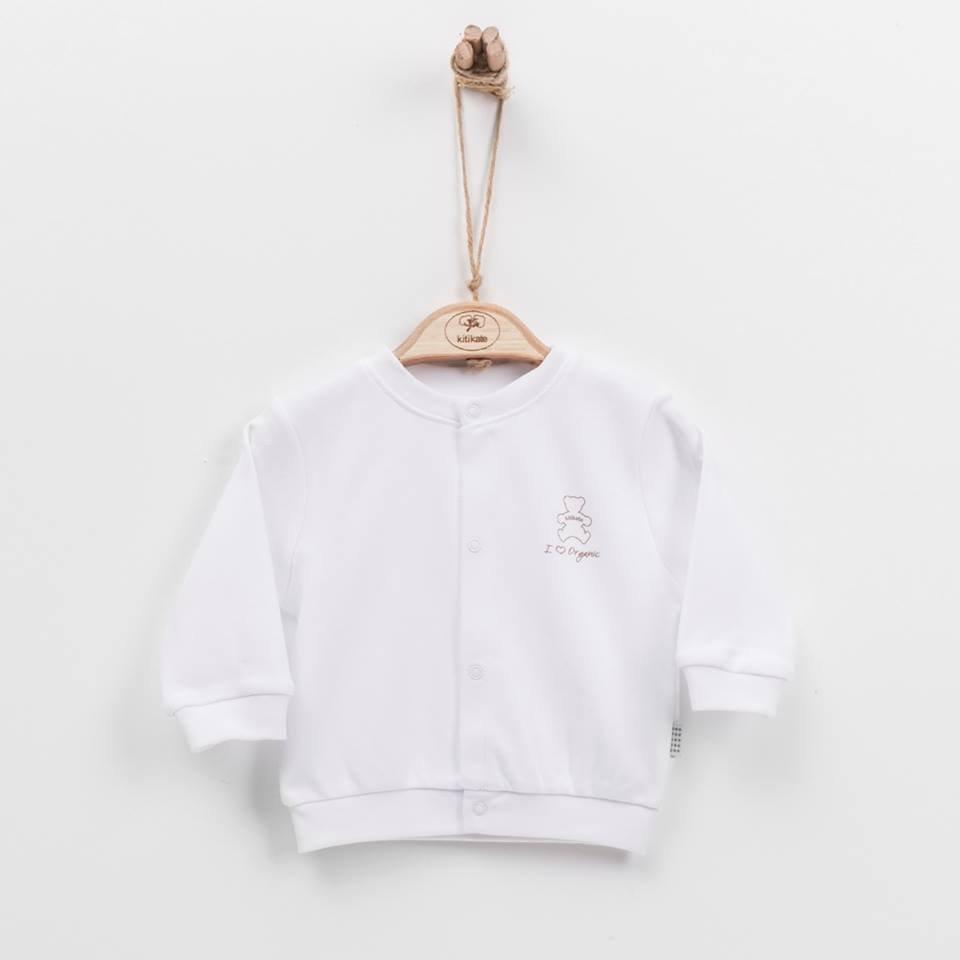 Baby cardi Kitikate white in organic cotton
