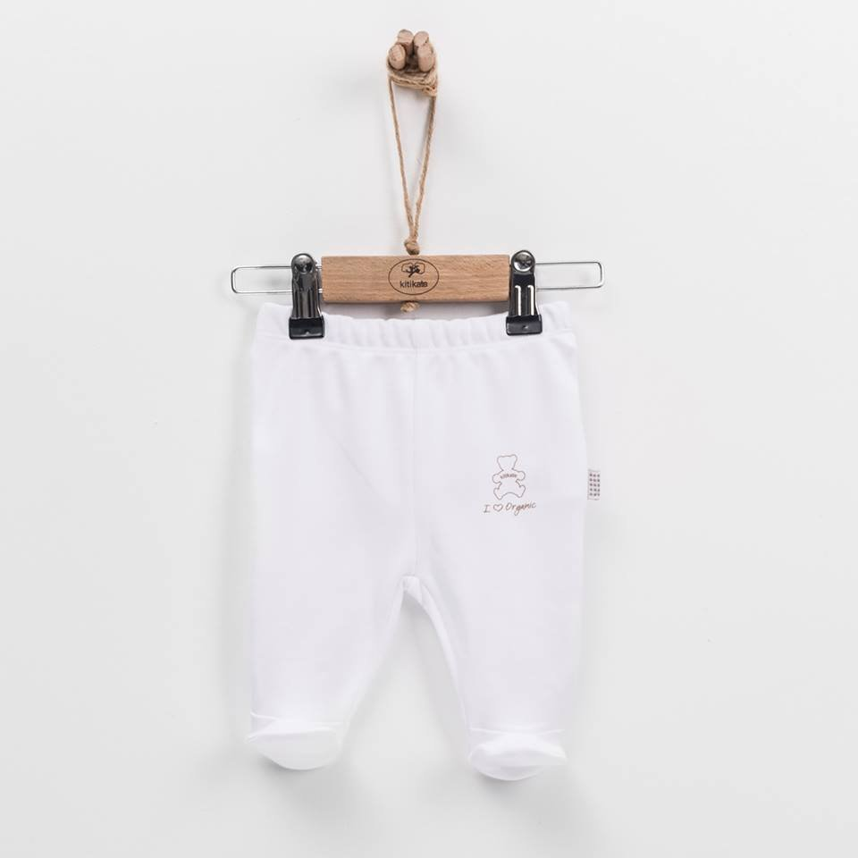 Baby footed leggings Kitikate white in organic cotton