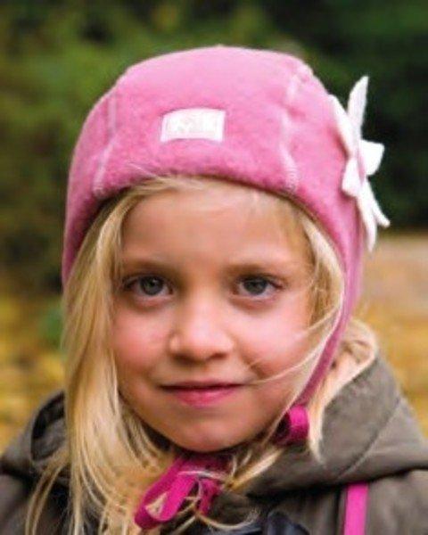 Baby girl mauve hat Nele in organic wool