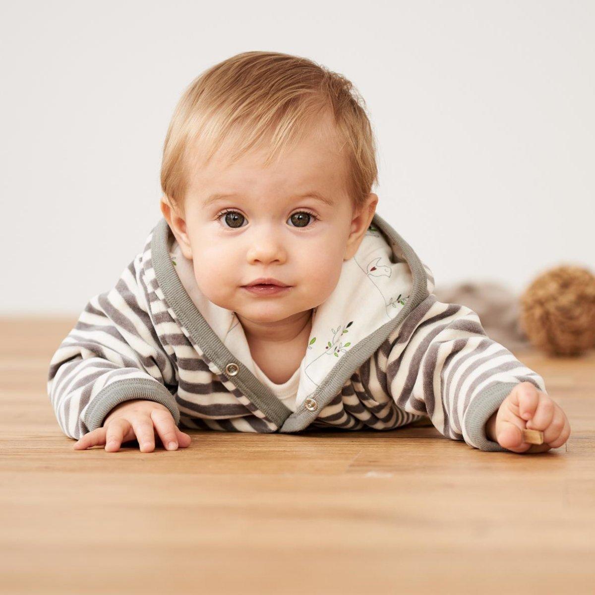 Baby jacket in organic cotton velour