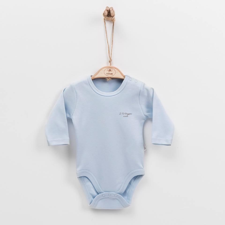 Baby long sleeve bodysuit Kitikate blue in organic cotton