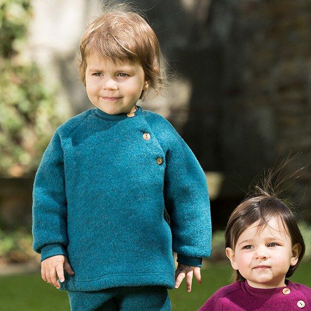 Organic Merino Wool Fleece Baby Trousers Blue