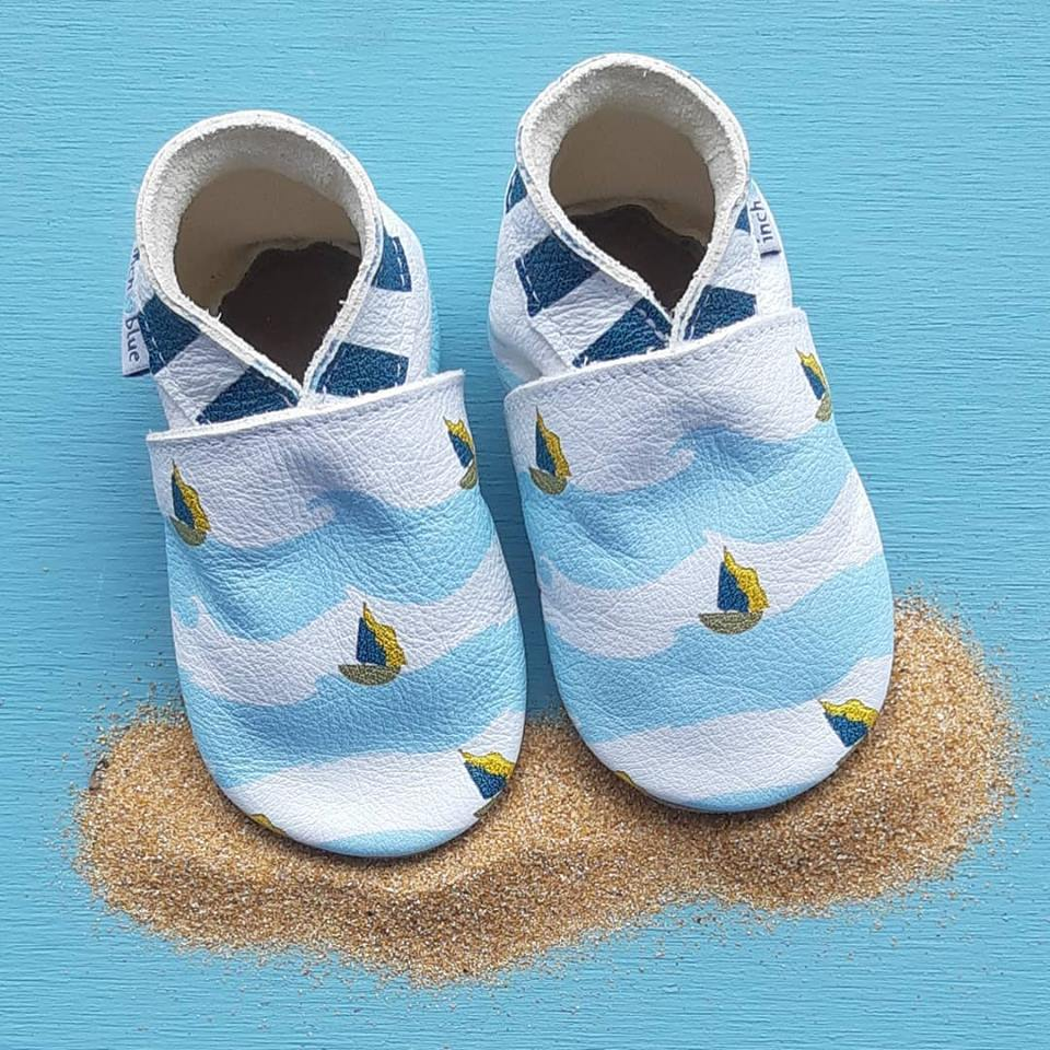 Baby shoe with soft sole in leather Boats Inch Blue
