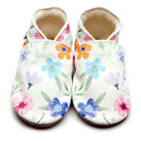 Baby shoe with soft sole in leather Flowers Inch Blue