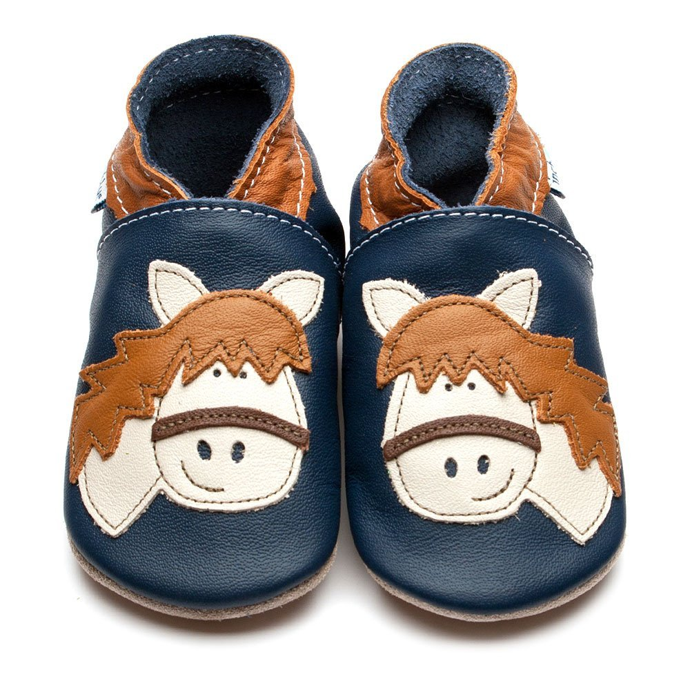 Baby shoe with soft sole in leather Horse Inch Blue
