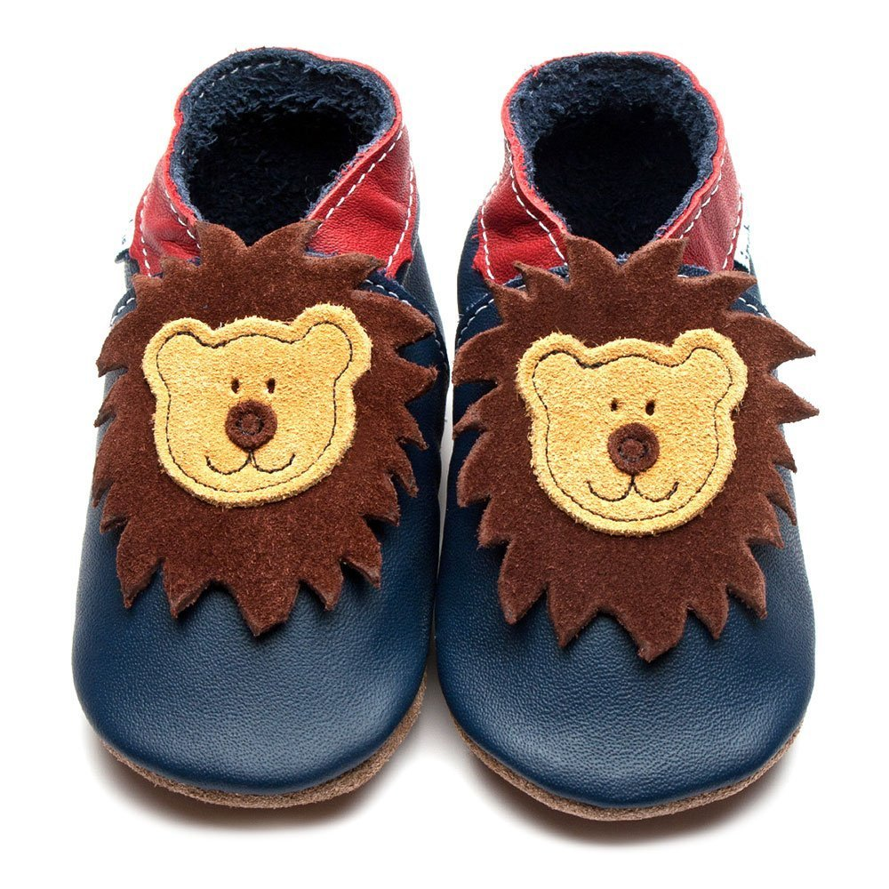 Baby shoe with soft sole in leather Lion Inch Blue