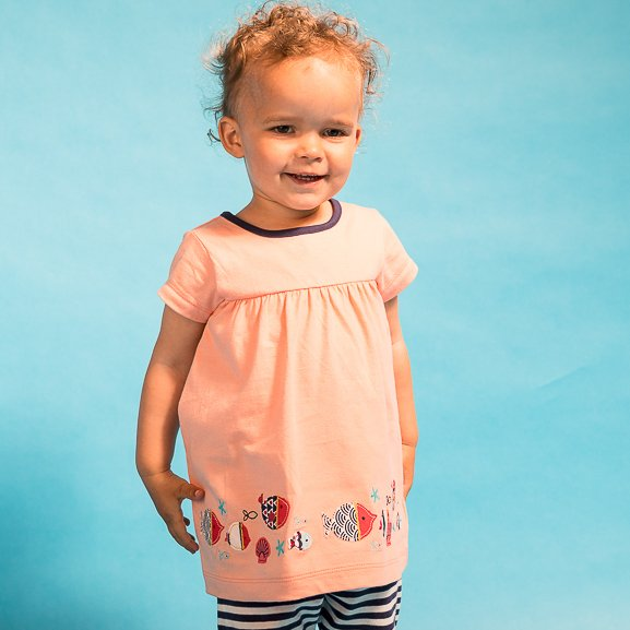 Baby Tunic Salmon with fish embroidered applique