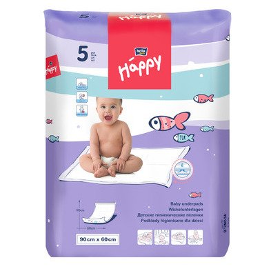 Baby underpads 90x60cm Happy Bella Baby - 5 pcs
