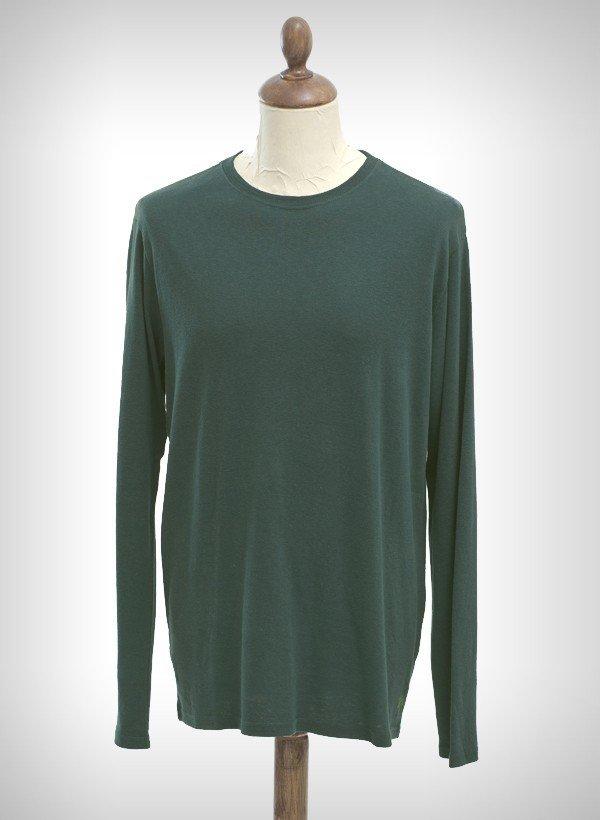 Basic green long sleeve hemp tee