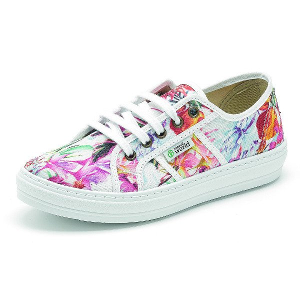 Summer woman sneakers Flowers in organic cotton canvas