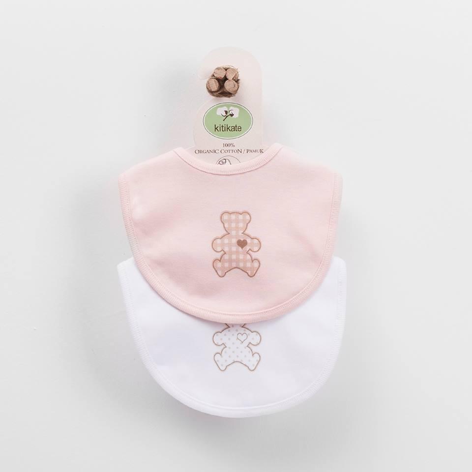 Bavaglini bianco e rosa set 2 pezzi in cotone biologico