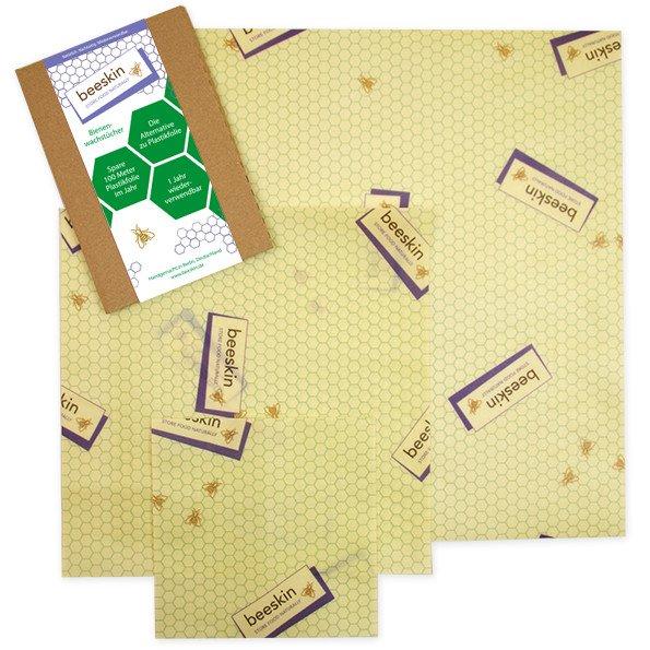 beeskin multi pack 3 pz - pellicole alimentari in cotone bio e cera d'api