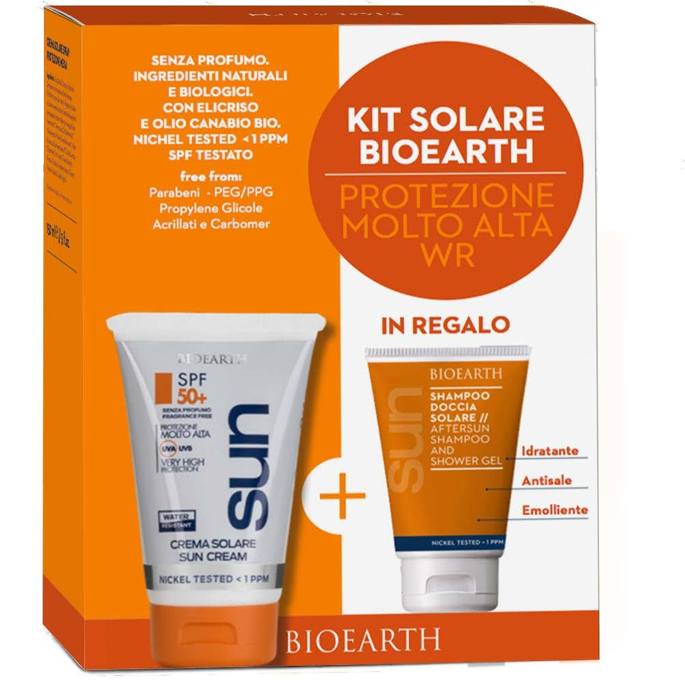 Bioearth Sun Kit Crema solare WaterResistant SPF50 e shampoo doccia omaggio