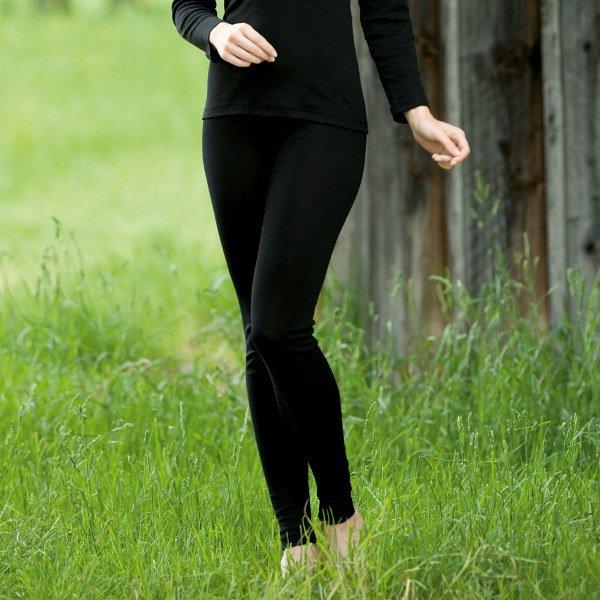 Black leggings in organic wool/silk