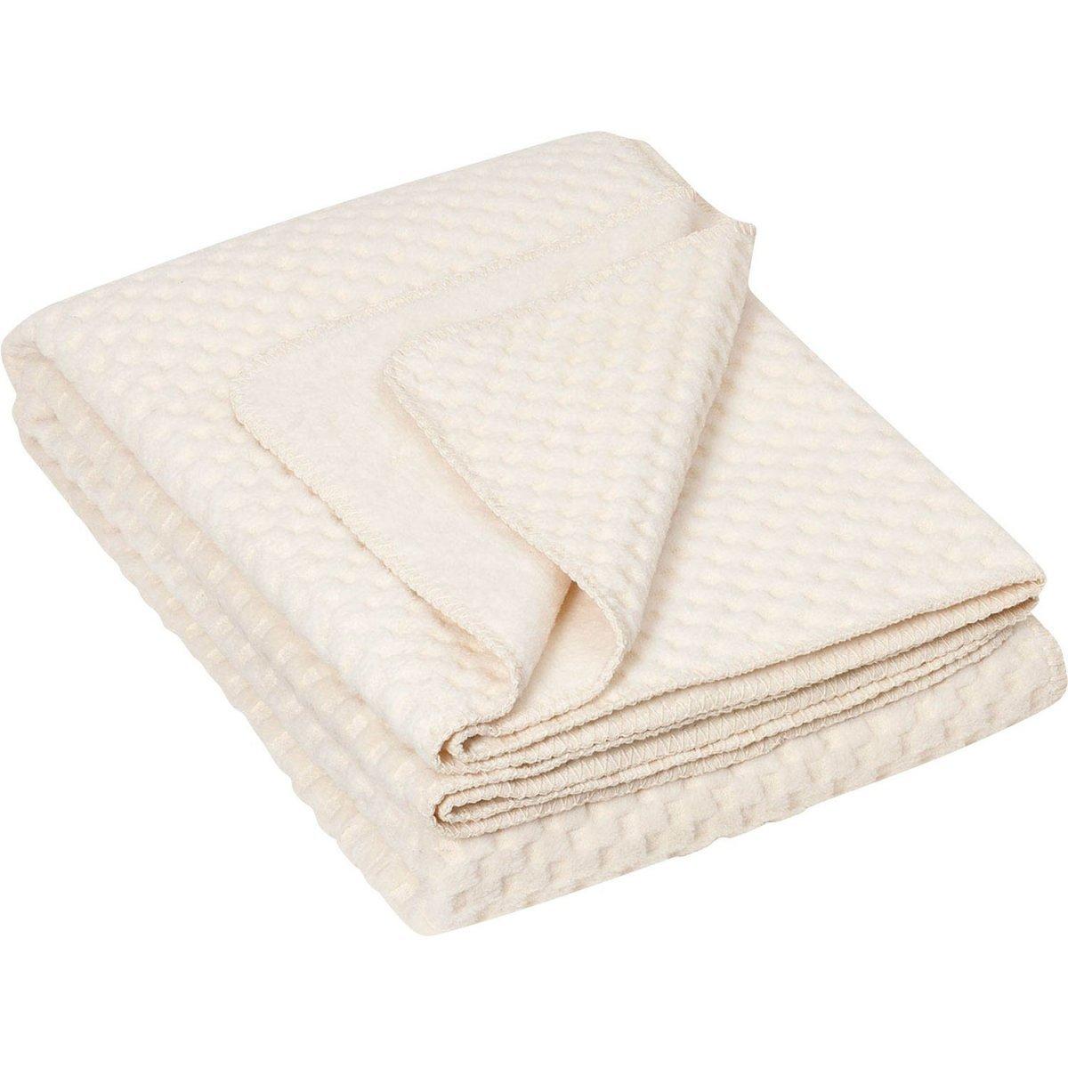 Blanket Jopea in natural organic cotton fleece 150x200