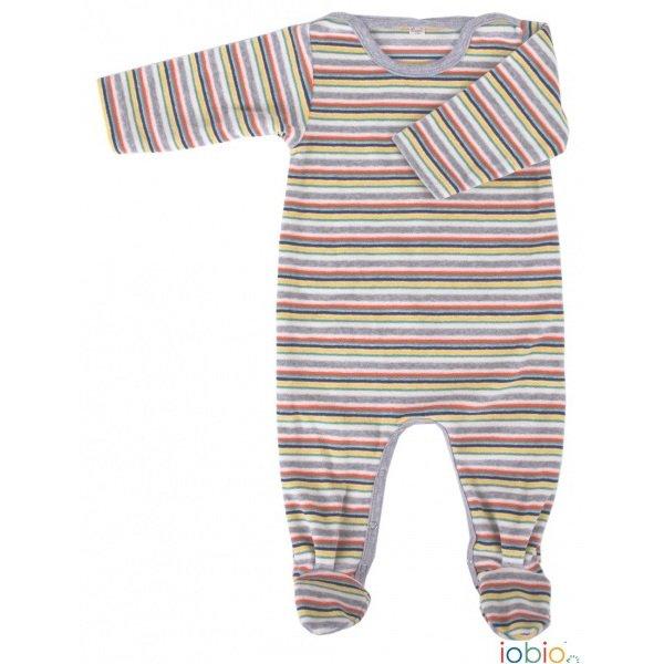 Stripes babysuit in organic cotton chenille