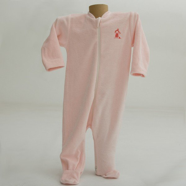 Pink babysuit in organic cotton chenille