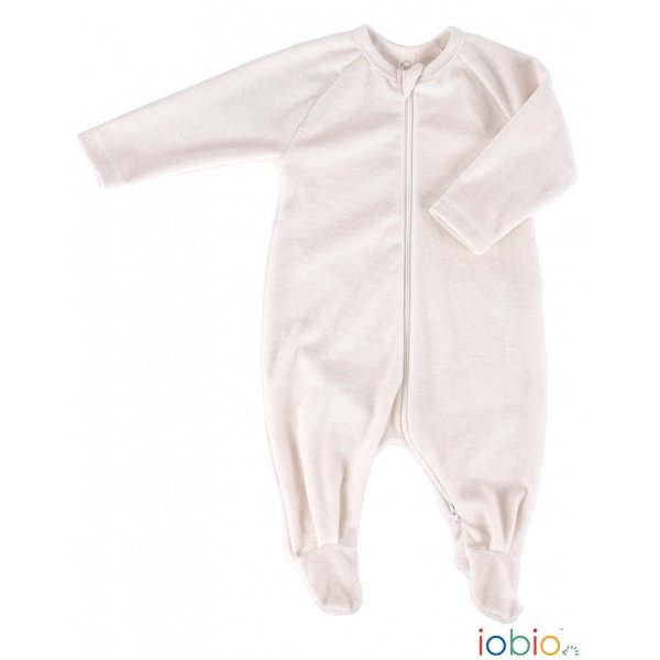 Natural babysuit in organic cotton chenille
