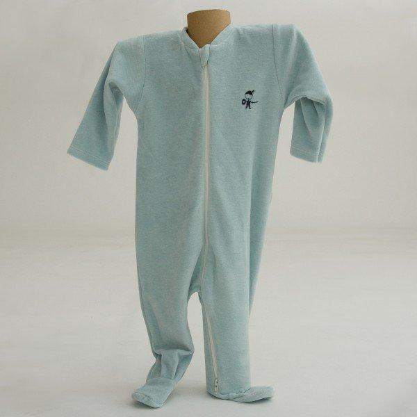 Blue babysuit in organic cotton chenille